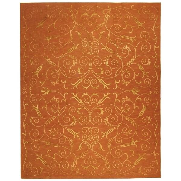 Safavieh Hand-knotted Tibetan Iron Scrolls Rust Wool/ Silk Rug - 10' x 14'