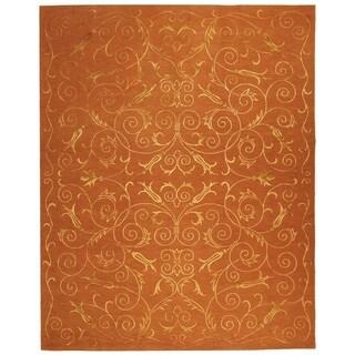 Safavieh Hand-knotted Tibetan Iron Scrolls Rust Wool/ Silk Rug (8' x 10')