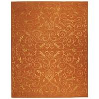 Safavieh Hand-knotted Tibetan Iron Scrolls Rust Wool/ Silk Rug - 8' x 10'