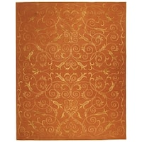 Safavieh Hand-knotted Tibetan Iron Scrolls Rust Wool/ Silk Rug - 9' x 12'