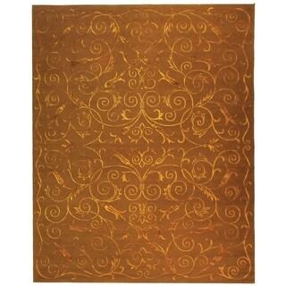 Safavieh Hand-knotted Tibetan Iron Scrolls Deep Bronze Wool/ Silk Rug (10' x 14')