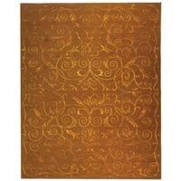 Safavieh Hand-knotted Tibetan Iron Scrolls Deep Bronze Wool/ Silk Rug - 10' x 14'