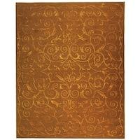 Safavieh Hand-knotted Tibetan Iron Scrolls Deep Bronze Wool/ Silk Rug - 6' x 9'