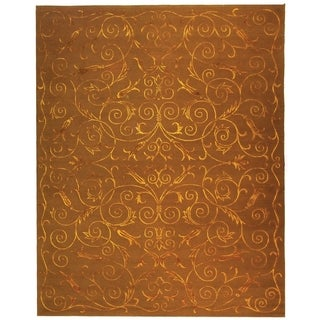 Safavieh Hand-knotted Tibetan Iron Scrolls Deep Bronze Wool/ Silk Rug (9' x 12')