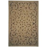 Safavieh Hand-knotted Tibetan Scrolling Vines Gold Wool/ Silk Rug - 6' x 9'