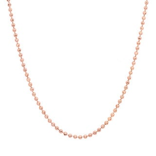 Sterling Essentials Rose Gold over Silver 1.5 mm Diamond-Cut Bead Chain (16-30 Inch)