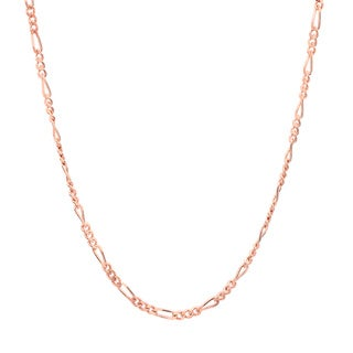 Sterling Essentials Rose Gold over Silver 1.5 mm Figaro Chain (16-24 Inch)