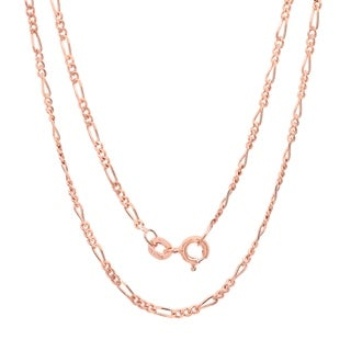 Rose Gold Plated Silver 1.5 mm Figaro Chain (16-24 Inch) - rose gold