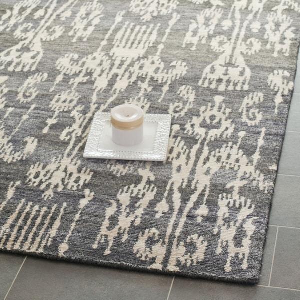 Safavieh Hand-knotted Tibetan Damask Coal Wool/ Viscose Rug (9' x 12')