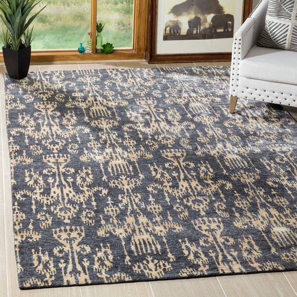Safavieh Hand-knotted Tibetan Damask Coal Wool/ Viscose Rug - 9' x 12'