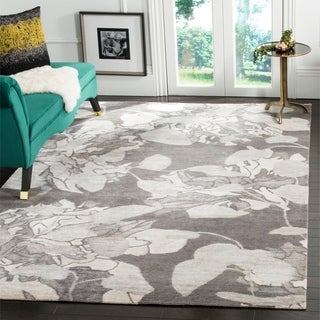 Safavieh Hand-knotted Tibetan Floral Silver Wool/ Viscose Rug (8' x 10')