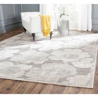 Safavieh Hand-knotted Tibetan Floral Silver Wool/ Viscose Rug (6' x 9')