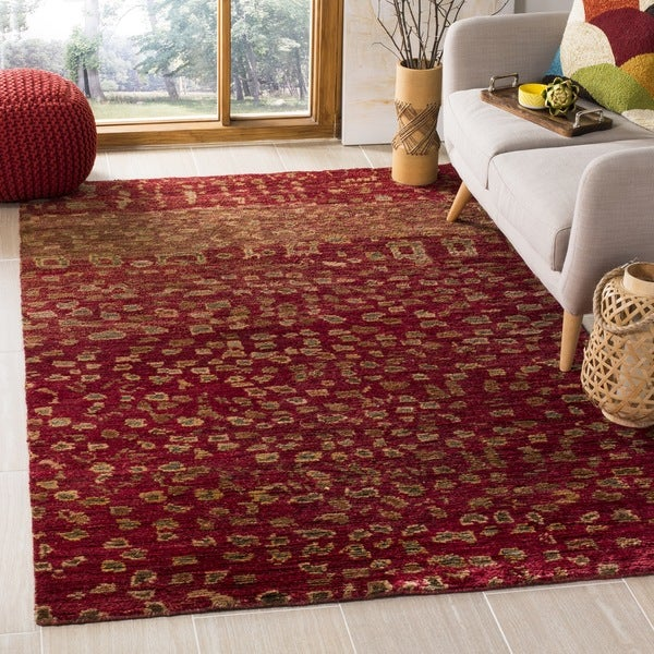 Safavieh Hand-knotted Tangier Red Wool/ Jute Rug (8' x 10')