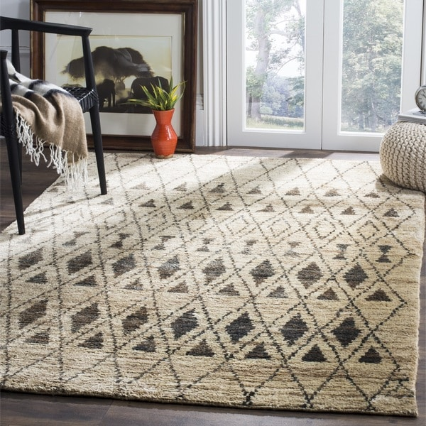 Rug Elegant Floor Decorating Ideas With Cool Overstock: Safavieh Hand-knotted Tangier Ivory/ Black Wool/ Jute Rug