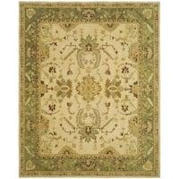 Safavieh Hand-made Taj Mahal Ivory/ Green Wool Rug - 5'6 x 8'6