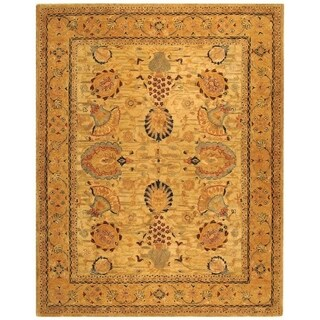 Safavieh Hand-made Taj Mahal Ivory/ Taupe Wool Rug (9'6 x 13'6)