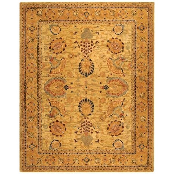 Safavieh Hand-made Taj Mahal Ivory/ Taupe Wool Rug - 9'6 x 13'6