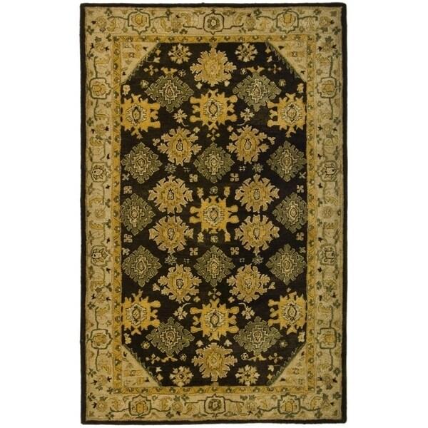 Safavieh Hand-made Taj Mahal Brown/ Ivory Wool Rug - 9'6 x 13'6