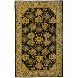 Safavieh Hand-made Taj Mahal Brown/ Ivory Wool Rug (5' x 8')