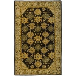 Safavieh Hand-made Taj Mahal Brown/ Ivory Wool Rug (6' x 9')