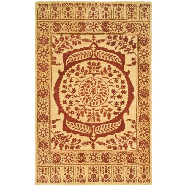 Safavieh Hand-made Taj Mahal Light Gold/ Red Wool Rug - 9' x 12'