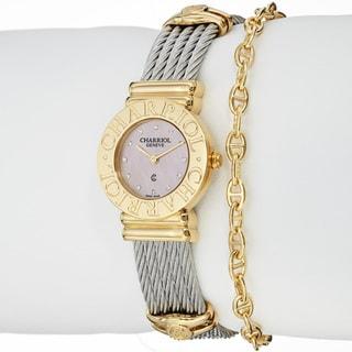 Charriol Women's 'St Tropez' Pink Mother of Pearl Dial Quartz Watch