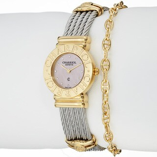 Charriol Women's 'St Tropez' Pink Mother of Pearl Dial Quartz Watch