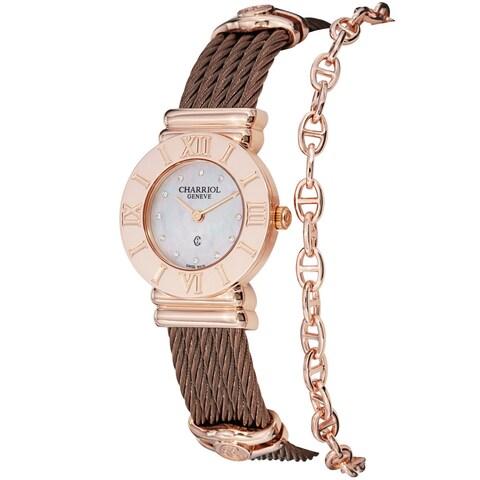 Charriol Women's 'St Tropez' Diamond Dial Bronze Steel Quartz Watch