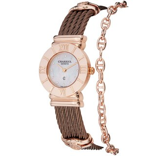 Charriol Women's 'St Tropez' Diamond Dial Bronze Steel Quartz Watch