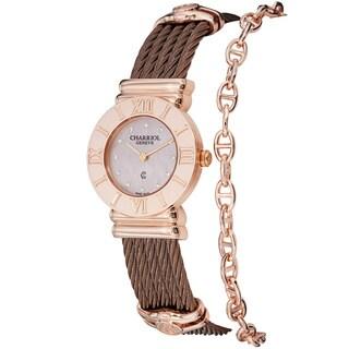 Charriol Women's 'St Tropez' Pink Diamond Dial Bronze Steel Watch