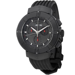 Charriol Men's 'Celtica' Grey Dial Black Rubber Strap Chrono Watch