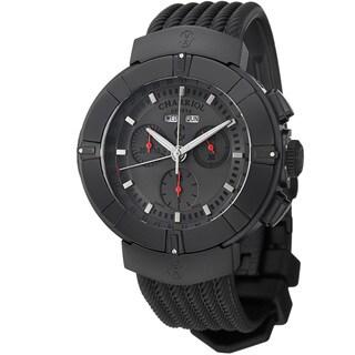 Charriol Men's 'Celtica' Grey Dial Black Rubber Strap Chrono Watch