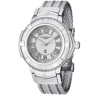 Charriol Women's 'Celtic' White Dial Stainless Steel Quartz Watch
