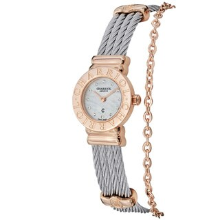 Charriol Women's 'St. Tropez' Mother of Pearl Dial Steel Mini Watch