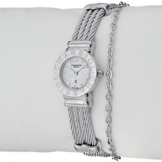 Charriol Women's 'St Tropez' Diamond Dial Stainless Steel Mini Watch