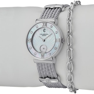 Charriol Women's 'St Tropez' Diamond Dial Stainless Steel Watch