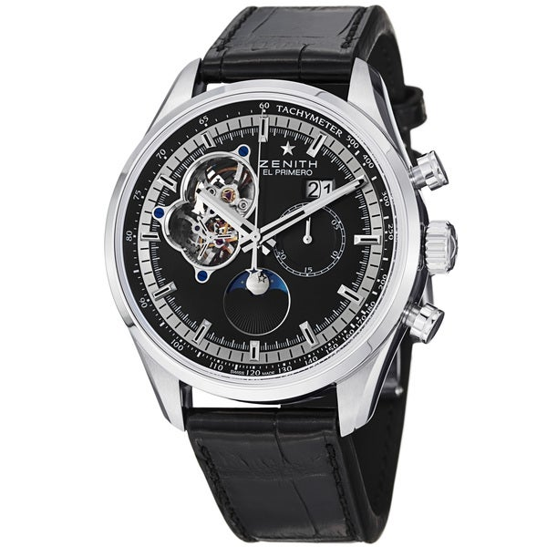 Zenith Men's 'Chronomaster Grande Date' Black Dial Leather Strap Watch