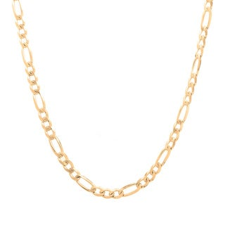 Sterling Essentials Italian 14k Gold over Silver 3 mm Diamond-Cut Figaro Chain (16-30 Inch)