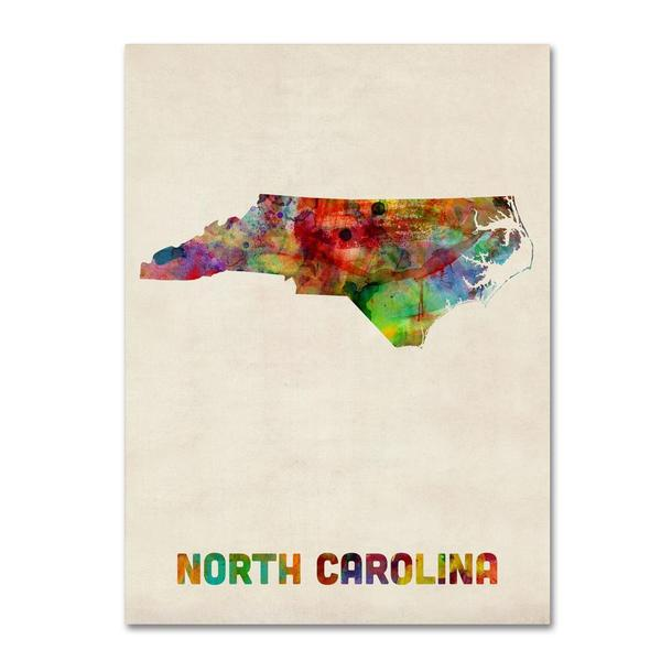 Michael Tompsett 'North Carolina Map' Canvas Art