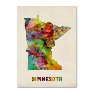 Michael Tompsett 'Minnesota Map' Canvas Art