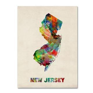 Michael Tompsett 'New Jersey Map' Canvas Art