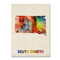 Michael Tompsett 'South Dakota Map' Canvas Art - Multi