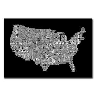 Michael Tompsett 'US City Map B&W' Canvas Art