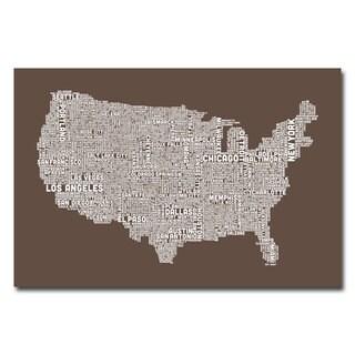 Michael Tompsett 'US City Map II' Canvas Art