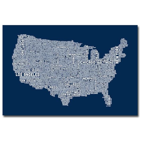 Michael Tompsett 'US City Map V' Canvas Art