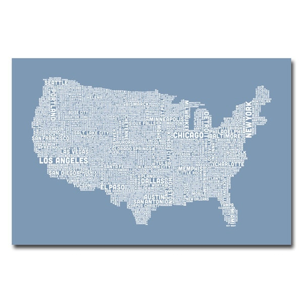 Michael Tompsett 'US City Map XII' Canvas Art
