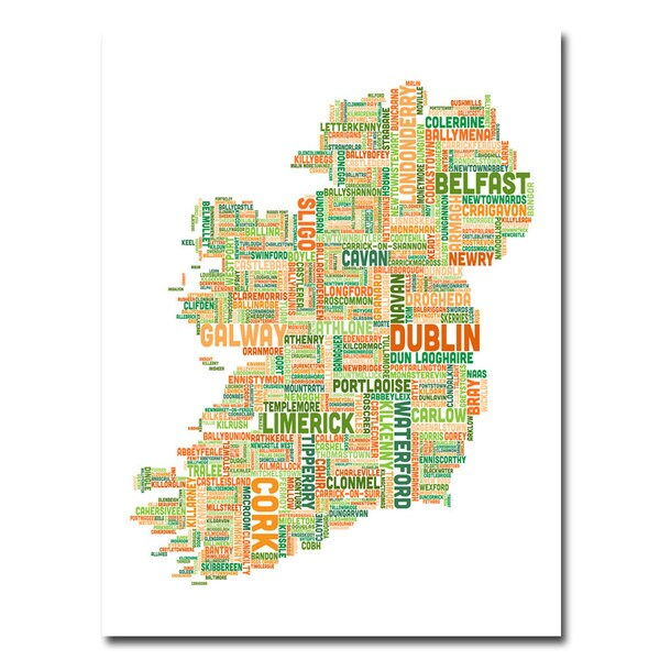 Michael Tompsett 'Ireland City Map II' Canvas Art