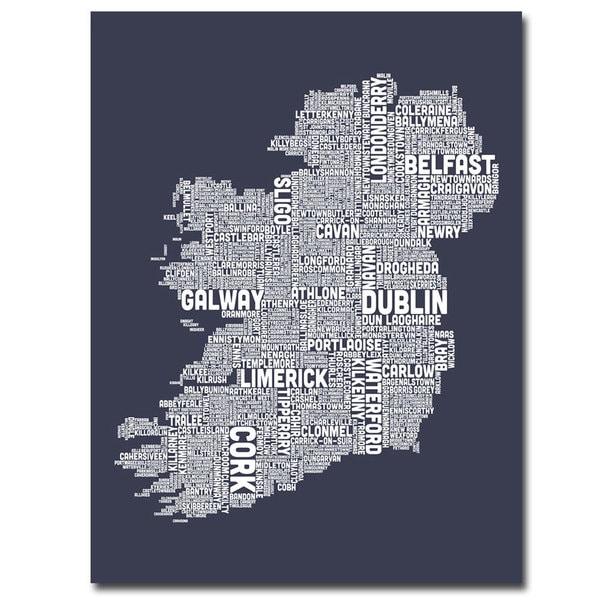 Michael Tompsett 'Ireland City Map XVIII' Canvas Art