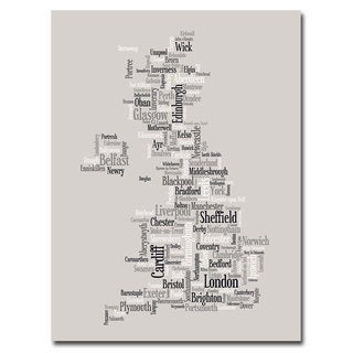 Michael Tompsett 'UK City Text Map' Canvas Art
