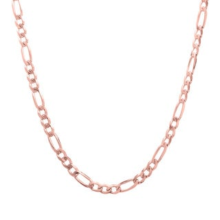 Italian Rose Gold over Sterling Silver 3 mm Diamond-Cut Figaro Chain (16-30 Inch)